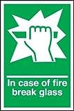 Emergency Door Sign - In Case of Fire Break Glass (Self Adhesive Vinyl / 100x150mm)