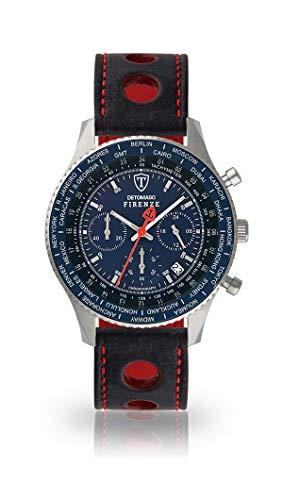 DETOMASO FIRENZE Uomo Orologio Cronografo analogico al quarzo nero da corsa cinturino in pelle blu Quadrante SL1624C-BL-836