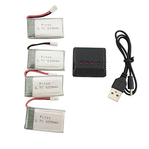 Fytoo Accessori Batterie 4pcs 3.7V 600mAh Lipo e caricabatterie 4in1 per MJX X708 X708W X709 UDI U45...