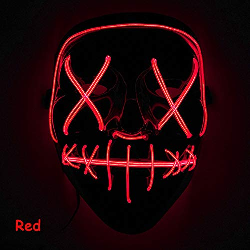Coromose LED Mask LED Light Up Mask for Festival Cosplay Costume red