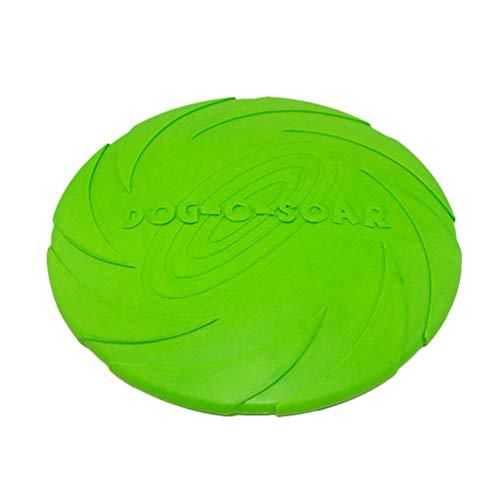 Linnuo Frisbee Perro Resistente Vuelo Disco Juguetes Interactivos Animal Juguetes de Entrenamiento Suave para Mascotas (Verde,S)