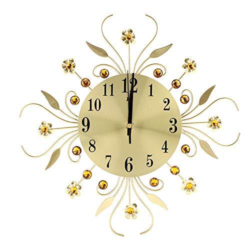 Ferro muto appeso orologio da parete stile europeo orologio da parete creativo orologio vintage in ferro battuto a forma di fiore diamante appeso orologio da parete
