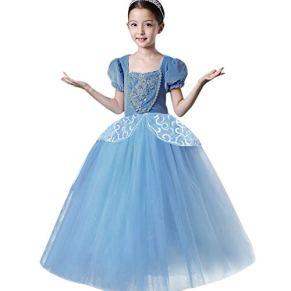 FYMNSI Trajes de Princesa Cenicienta para Niñas, Infantil Cinderella Disfraz Manga Corta Ceremonia Boda Tutu Vestido…