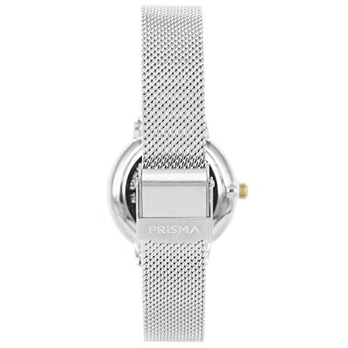 Prisma Damen Armbanduhr Retro Corum, Edelstahl silber mit Analog Quarzwerk, 5 ATM und Saphirglas P.1444 - 3