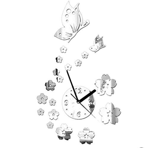 Gankmachine Orologio da parete del fiore di farfalla 3D Acrilico specchio Adesivi Arte Moderna Home...