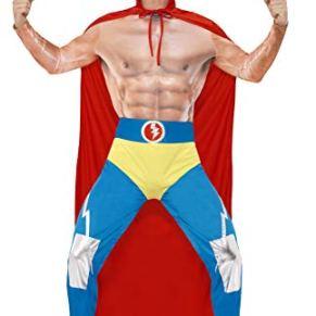 Smiffy'S 43667L Disfraz De Luchador Mexicano Con Capa Leggings, Rojo / Azul, L - Tamaño 42
