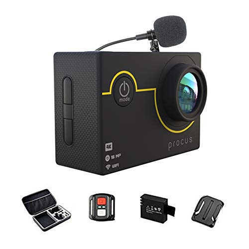 PROCUS Rush 2.0 (Full Pack) 16MP 4K HD Action Camera Waterproof with External Mic and WiFi (Black)