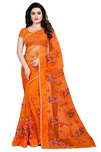Bollyclues Women's Mono Net Embroidered And Pearl Work Saree (Mc-1199_Free Size) (Orange)