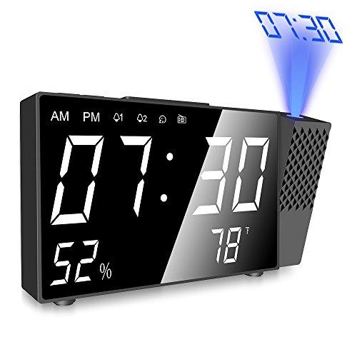 Sveglia con Proiettore,Radiosveglia Digitale da Comodino con Proiettore,con Doppi Allarmi e FM...