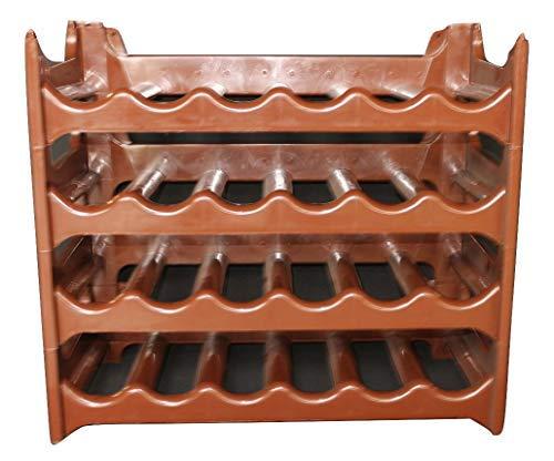 ARTECSIS Cantinetta Portabottiglie in Plastica Modulare 24 Bottiglie Marrone