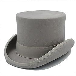 HXGAZXJQ 15CM (Steampunk/Sombrero de Sombrerero Loco/Sombrero de Sombrero de Cilindro/Sombrero de Cilindro de Sombrero de Chimenea (Color : Gris, tamaño : 55cm)