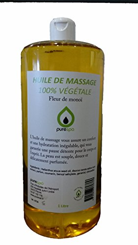 Olio per massaggi 100% vegetale, aroma: fiori di monoi