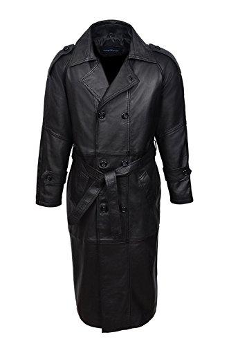 Smart Range 'Doppio Breasted Trench' Uomo Nero Punto-Lunghezza Real Nappa Coat Jacket Coat (S)