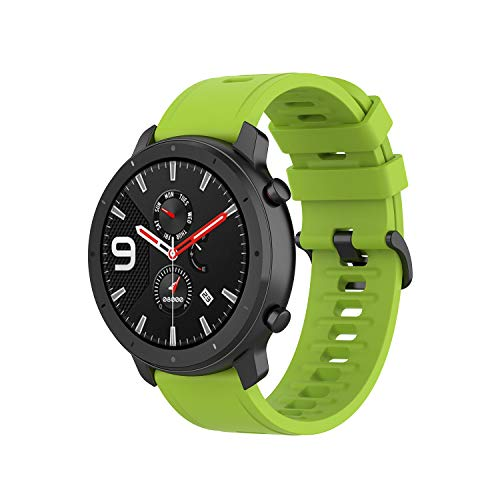 Yikamosi Compatible with Amazfit GTR 47MM Bands,Soft Silicone Stainless Steel Clasp Replacement Smart Watch Bracelet Strap Bands Compatible with Amazfit GTR 47MM(Green)