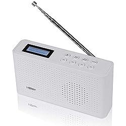 Dab & ~ Dab+ Radio Digital y FM de iStar,Radio Personal portátil y Recargable con Sistema de Sonido de Altavoz estéreo, Funciona con Carga USB con batería Retro Radio de Cocina (Blanco)