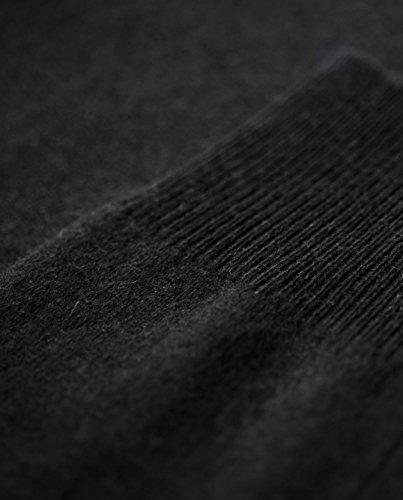 100% Kaschmir Damen Kapuzenpullover | Hoodie mit Reißverschluss (Schwarz, XL) - 5