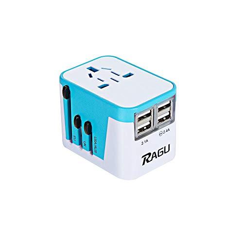 Ragu Universal Reiseadapter 4 USB für EU UK US AU Asia 224+ Ländern