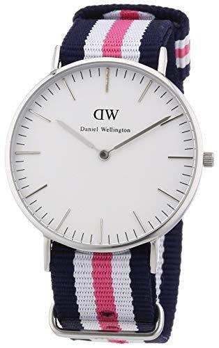 Daniel Wellington DW00100050 , Orologio con cinturino in nylon per donna, Bianco / Grigio