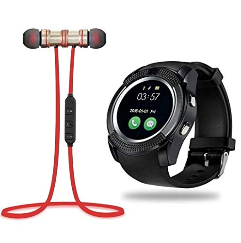 Konfianza Y1 Touch Screen Smart Wrist Watch with Smart Magnetic Wireless Bluetooth Sports Earphones (Color May Vary)