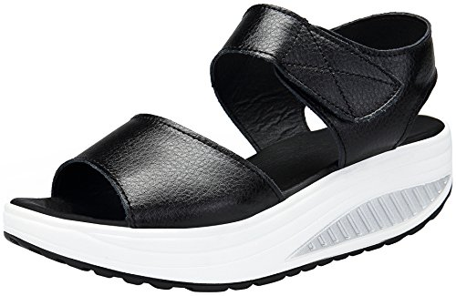 DAFENP Sandali Donna con Zeppa Pelle Scarpe Comfort Peep Toe Camminare Piattaform Infradito Estate...