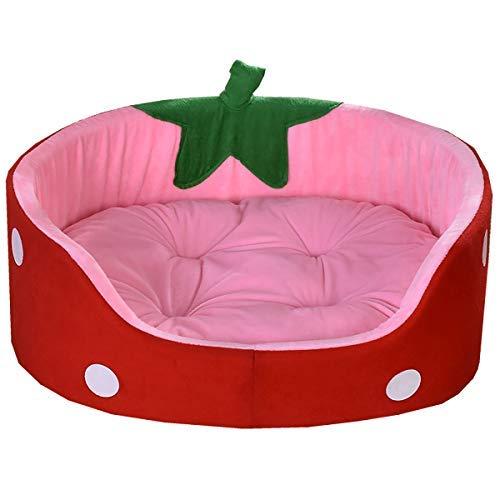 Divine Shield Haustier Nest Bett für Hunde Katze Warmes Weiches Bett Süßiges Erdbeeren Nest Geeignet für Vier Jahreszeiten Dicker Schwammsmatte Abnehmbares Waschbares Hundebett abwischbar mit Wendekissen