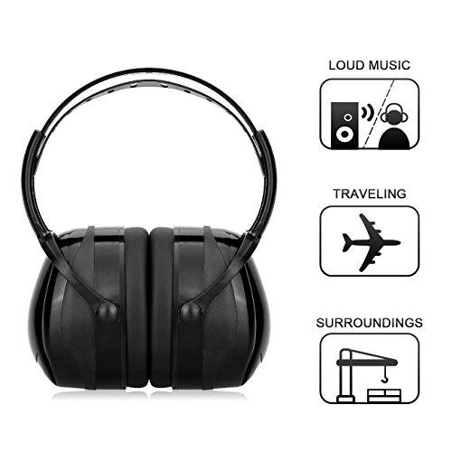 UTEN Protección Auditiva Orejeras Protectoras para el Oído con Diadema Ajustable Prevenir el Ruido hasta 36dB para Cazar (Negro Adulto)