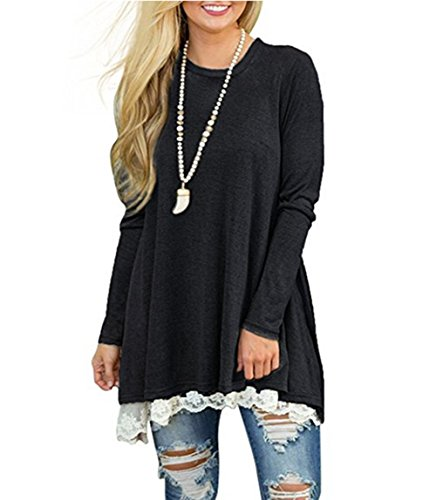 b14a397c521 Winfon Womens Casual Cotton Long Sleeve Loose Plus Size Tunic Tops ...