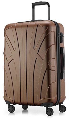 Suitline - Valigia Trolley rigido ABS TSA 4 ruote, M (66cm), 68 litres, Marrone