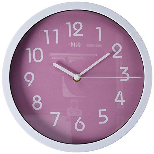HITO, orologio a parete in stile moderno, colorato, silenzioso, senza ticchettio, diametro: 25,5 cm. Pink