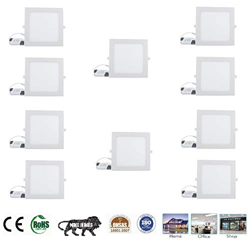 """""""Happy Selling"""" 18 Watt Energy Super Saver 'IP50 ' Dust Proof LED Square Panel Light Ceiling POP Down Indoor , White - Pack of 10"""