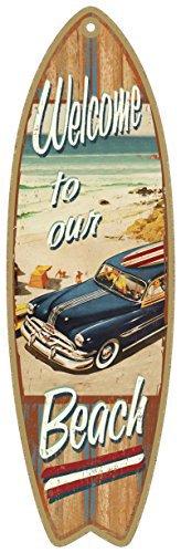 Cita de Playa, Verano Tabla de surf de madera con placa de letrero en inglés de 12,7 x 40,64 cm