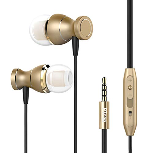 PTron Magg Headphone Magnetic Earphone with Noise Cancellation in-Ear Wired Headset with Mic for All Smartphones (Gold)