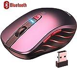 VicTsing Ratón Inalámbrico Bluetooth 4.0 & 2.4G, 5 dpi Adjustables, Rojo