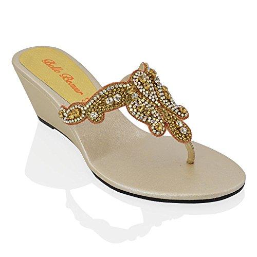 ESSEX GLAM Sandalo Donna Oro Infradito Tacco a Cuneo Finto Diamante Elegante Festa EU 36