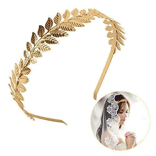 OZUAR Diadema de Hoja Dorada Estilo Griego Diadema de Corona Tiara Accesorios para el Cabello Elegante Talla Universal para Mujer Niñas en Fiesta de Boda Halloween Uso Diario