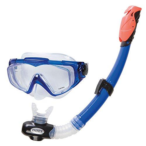 Intex Aqua PRO + I.6, Maschera e Boccaglio Unisex - Adulto, Blu, 25.4 x 8.9 x 49.8