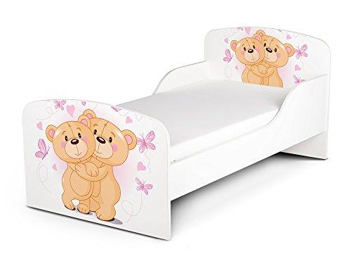 Letto Lettino Per Bambini In Legno e Materasso Magnifiche Stampe  Dimensioni 140x70 Motivo Amare Gli Due Orsacchiotti Amico Orso Animale Coccoloso