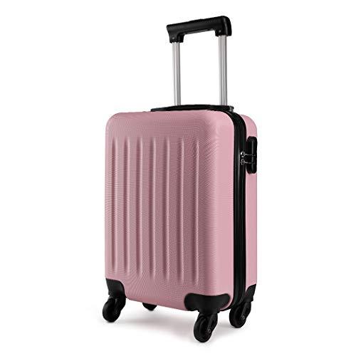 Kono Trolley rigido in ABS Bagaglio a Mano Valigia Rigida e Leggera con 4 Ruote (Rosa)