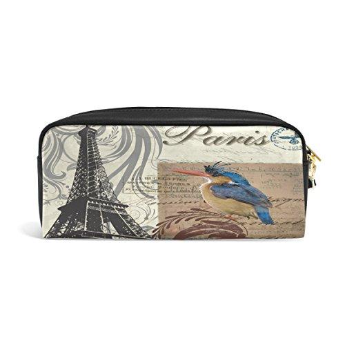 zzkko Floral París pájaro funda de piel cremallera lápiz pluma estacionaria bolso de la bolsa de cosméticos bolsa bolso de mano