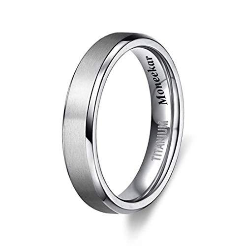Moneekar Jewels 4MM/6MM/8MM Unisex Genuine Titanium Band Rings in Comfort Fit Matte Finish Rings for Men Women (Amazon Exclusive)