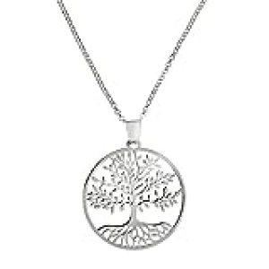 Córdoba Jewels | Gargantilla en Plata de Ley 925 bañada en rodio Diseño Gran Árbol de la Vida DE 29 x 29 mm