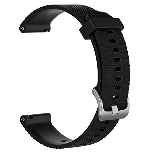 Fasce di ricambio per Garmin Vivoactive 3 / Vivomove / Vivomove HR Fitness Watch cinturino in silicone morbido regolabile da 20 mm Cinturino accessorio con sgancio rapido (Nero, L)
