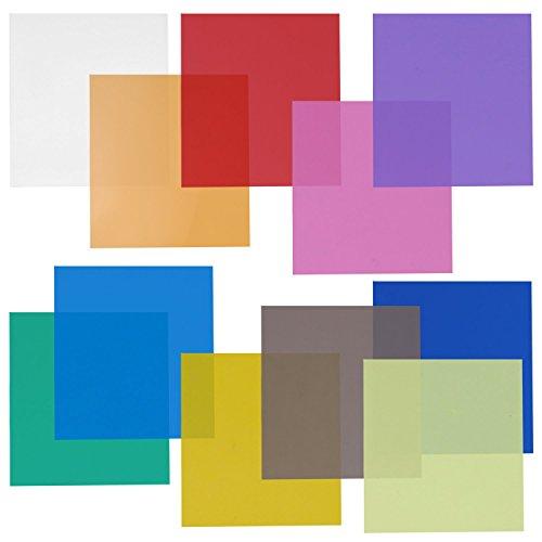 Neewer 30x30cm Set di Filtri Colorati Trasparenti 11 Gelatine a Colori per Strobo da Studio (Verde,...