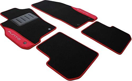 COLOR0000041R, Tappeti auto moquette antiscivolo, Su misura, 2 Ricami, Rosso