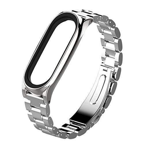 JSxhisxnuid Compatible per Xiaomi Mi Band 4 Orologio Cinturino in Acciaio Inossidabile Braccialetto di Ricambio Cinturini Metallo Bracelet,Donne Uomini (Argento)
