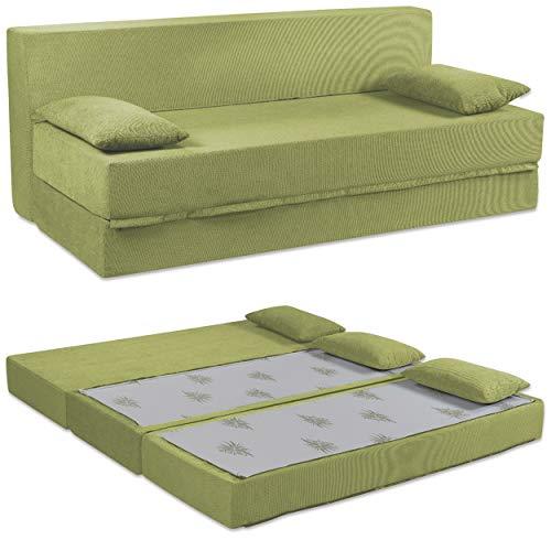 Baldiflex Divano Letto 3 Posti Modello Tetris in Poliuretano Rivestimento Sfoderabile e Lavabile, Colore Verde Oliva