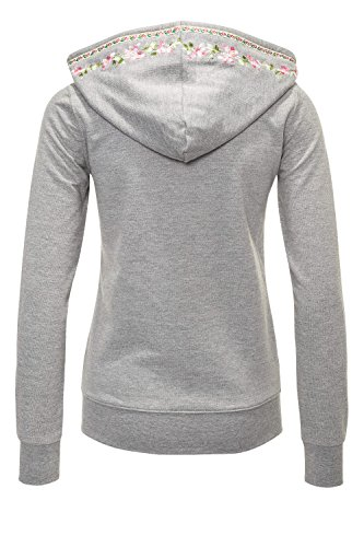Hachiro Damen Sweatjacke Hoodie Sweatshirt Pullover (L, Light Grey Melange) - 3