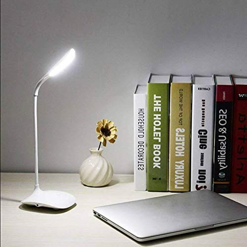 BLUECORP ENTERPRISE BE Plastic Rechargeable LED Touch on/Off Switch Study Desk Lamp USB Charging Touch Dimmer for Children Eye Protection (Medium, White)