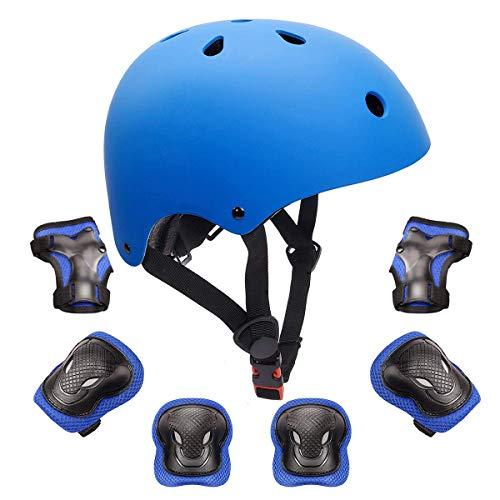 KORIMEFA Casco da Bici per Bambini Set di Casco Protezione Bambini Casco, Ginocchiere, Gomitiere,...
