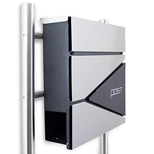 BITUXX® Design Standbriefkasten Briefkasten Briefkastenanlage Freistehender Postkasten mit Zeitungsfach Anthrazit Graphit Edelstahl